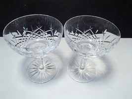 2 Saucer Champagne / Sherbets ~~ Cut Crystal ~ gorgeous ~ waterford?  ~ ... - $20.00