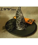 Black Halloween Mini Spiderweb Witch Hat with Headband Adult Women's Gothic - $4.97