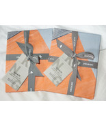Set of 2 West Elm Organic Sateen Brushed Collage King Shams Orange Blue ... - $37.83