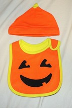 New Carters Unisex Baby Pumpkin Bib & Hat Costume First Halloween Jack o... - $9.89