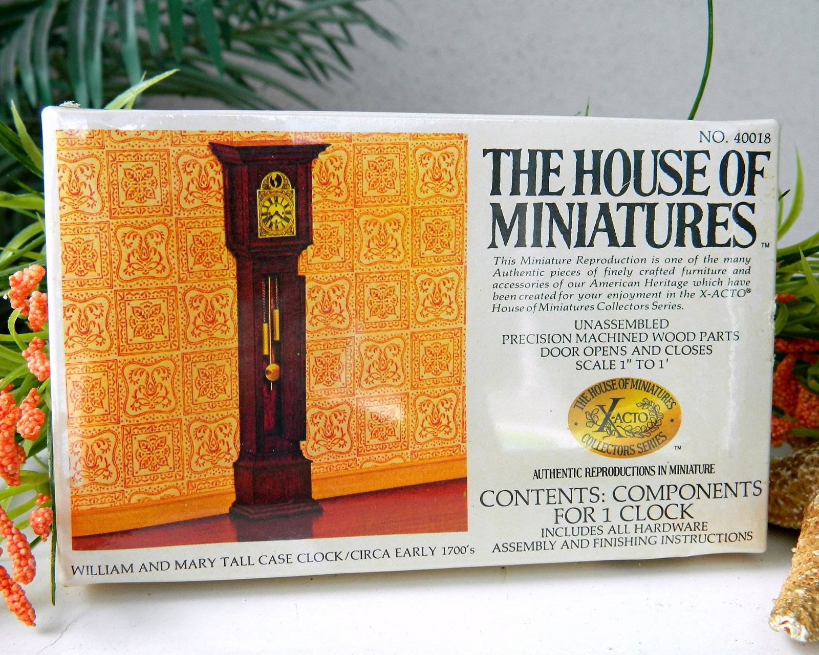 Vintage william mary tall case clock doll house miniatures 1977