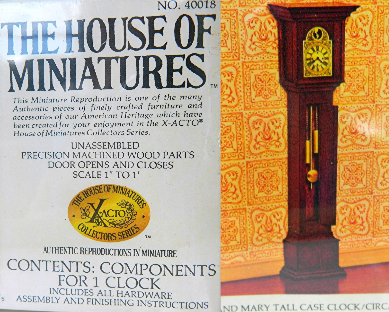 Vintage William Mary Tall Case Clock Doll House Miniatures 1977 40018