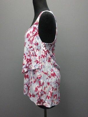 SPLENDID Light Blue Pinks Rayon Scoop Neck Sleeveless Top Shirt Sz M SM8024