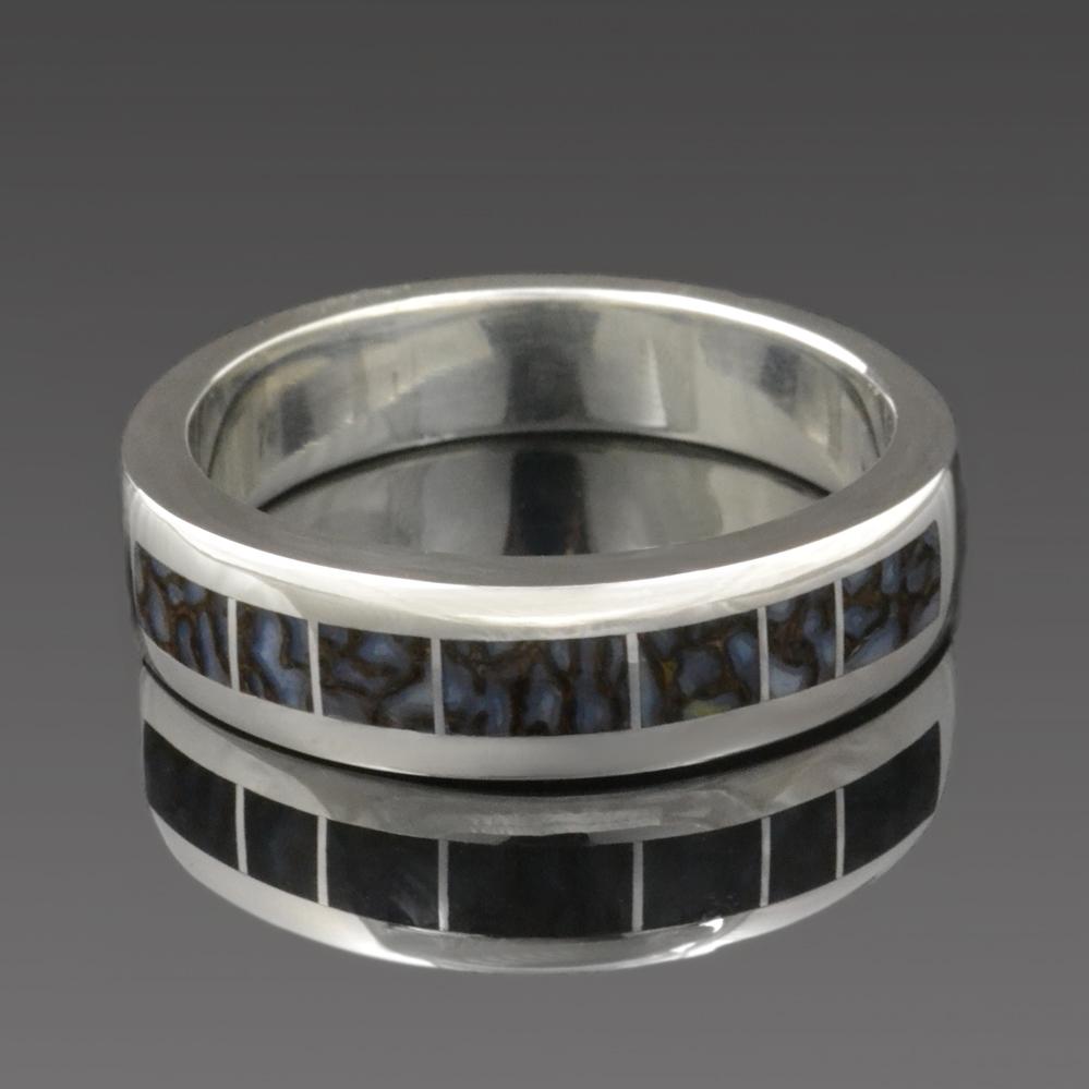 Dinosaur bone man's ring in sterling silver