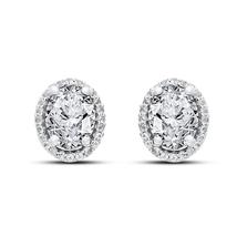 New Fashion 14k White Gold Plated 925 Silver Women's Stud Earrings Oval Shape CZ - $45.88