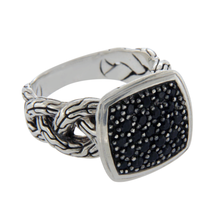 Auth JOHN HARDY 925 Sterling Silver Black Sapphire Classic Chain Ring »U312 - £314.03 GBP