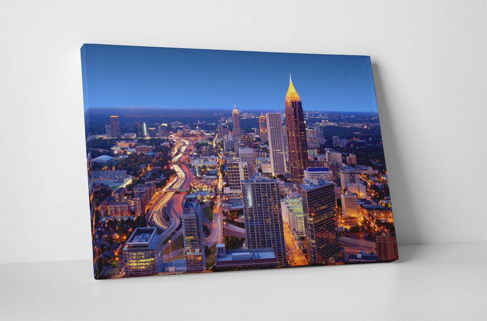 "Primary image for Atlanta Top Down Night Skyline Gallery Wrapped Canvas Print. 30""x20"" or 20""x16"""