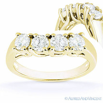 Round Cut Forever Brilliant Moissanite 14k Yellow Gold Curved Wedding Ri... - €532,39 EUR+