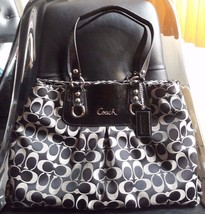 AUTH COACH ASHLEY SIGNATURE CARRYALL SHOULDER BAG PURSE F15510 BLACK $39... - $105.77