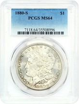 1880-S $1 PCGS MS64 - Morgan Silver Dollar - $77.60