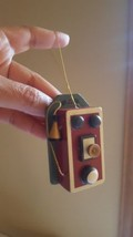 Vintage Christmas Collectible Ornament Enesco 1987 Wood Antique Telephone Phone - $13.16