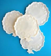Vintage Hazel Atlas Milk Glass Apple Tree Snack Sandwich Plate Textured Lot of 4 - $22.16