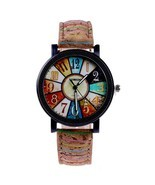 Fshion Women Watch Color Dial Retro Quartz Watch - $14.17 CAD