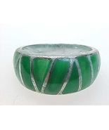 STERLING Vintage RING with GREEN ENAMELING - Size 7 1/4 - $45.00