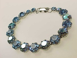 WEISS Signed BLUE RHINESTONE Bracelet - 8 1/2 inches - STUNNING!!! - FRE... - $90.00