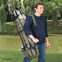 Fishing Rod Reel Case Storage Gear Tackle Bag Outdoor Travel Organizer T... - £35.63 GBP