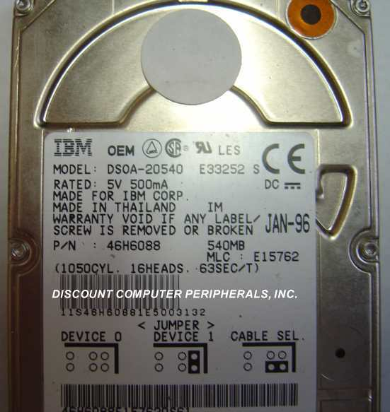 "540MB 2.5"" 12.5MM IDE 44pin Hard Drive DSOA-20540 IBM 46H6088 Our Drives Work"