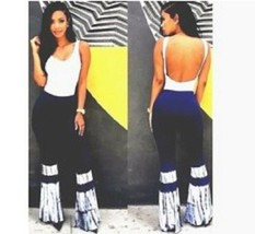 Womens Sexy Sleeveless Bodycon Jumpsuit Low Front /Back Club Long Flare ... - $8.95