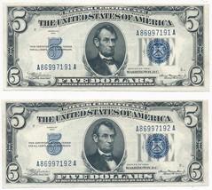 1934 $5 FIVE DOLLAR SILVER CERTIFICATES-CRISP UNC! CONSEC. SERIAL #'S! I... - $124.95