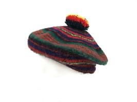 Vtg 70s CAMERON Knit Clan Multi-Color Hat Pom Wool Tam SCOTLAND Scottish... - $21.04