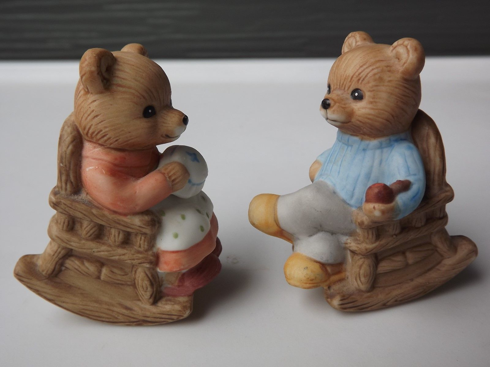 Primary image for Homco Porcelain Teddy Bears in Rocking Chairs Figurines