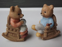 Homco Porcelain Teddy Bears in Rocking Chairs Figurines - $14.01