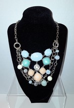 Ann Taylor Pastel Blue Green Faux Stones Beads Gold Tone Bib Necklace EUC - $18.56