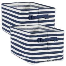 Woven Cotton Laundry Bin, Stripe French Blue, Rectangle Large - Free Shi... - $41.59