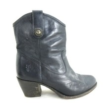 6.5 - Frye Jackie Button Black Leather Pull On Short Heeled Boots 0711MD - $1.454,31 MXN