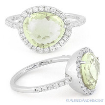 2.61 ct Green Amethyst Gem Round Cut Diamond Halo Right-Hand Ring 14k Wh... - £823.60 GBP