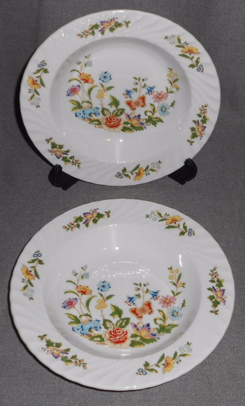 Set (2) Aynsley COTTAGE GARDEN PATTERN Rimmed Soups ENGLAND