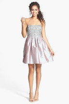 Adrianna Papell Women's Dress 8 Embellished Bodice Strapless Taffeta Bea... - $98.35
