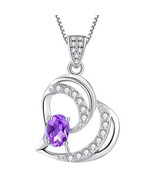 Natural Amethyst Hearts Sterling Silver Pendant Necklace Valentine's Day... - $53.89