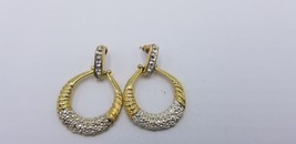 Vintage 1980s Round Gold Tone With Textured Stone Look For Bling Earring... - $7.68