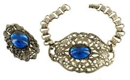 Book Chain Blue Glass Vintage Victorian Revival Filigree Cab Bracelet & ... - $67.49