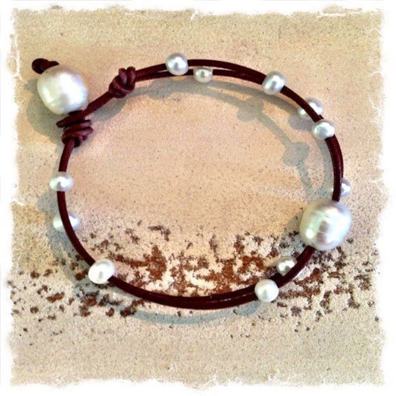 Primary image for Dongmu  Jewelry  Bohemian  Style  Natural  Freshwater  Pearl  Leather Cord Brace
