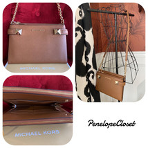 NWT MICHAEL KORS SAFFIANO LEATHER KARLA EAST WEST CROSSBODY BAG IN LUGGAGE - $87.88