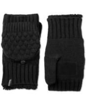 Isotoner Signature Women's Flip Top Mittens with Palm Patch (Black) - $25.74