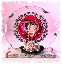"Betty Boop ""I want to be loved by you""  Birthday Gift Cut Glass plaque L... - $32.02"