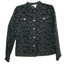 Charter Club Women's Bond Street Black on Black Floral Jean Jacket Sz S ... - $24.99