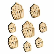 Hand Drawn Cupcake Doodle Wood Buttons for Sewing Knitting Crochet DIY Craft - V - $9.99