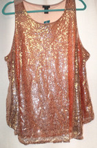 New Womens Plus Size 3X Sparkly Dressy Peach Gold Tank Top For Work Or Play - $18.37