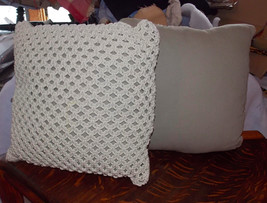 Pair of Beige Cream Rope Crocheted Decorative Pillows  16 x 16 - $59.95