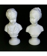 2 (Two) PARIAN WARE FIGURES White Bisque Boy & Girl Busts - Made in Germany - $113.99