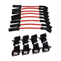 """A-Team Performance D585 Ignition Coils & 8"""" 8.0mm Spark Plug Wires Compatible Wi"""
