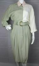 Kwai petites vintage women's dress 3/4 sleeve pockets multicolor belted ... - $32.45