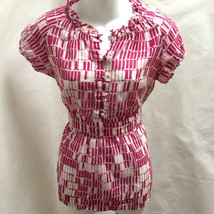 Banana Republic S Top Purple Geometric Semi Sheer Silk Blend Tie Back Shirt - $19.58