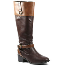 Brown Tan Faux Leather Buckle Strap Zipper Riding Knee High Boots Soda Candice-s - $19.99