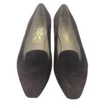 Salvatore Ferragamo Women's Burgundy Suede Leather Heels Loafers Heels S... - $39.59
