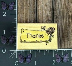 Uptown Rubber Stamps Thanks With Sunflower Sign Wood Mount #AA39 - $2.97